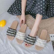 Summer 2020 new arrival flat designer slippers girls casual shoes women white/black pearl