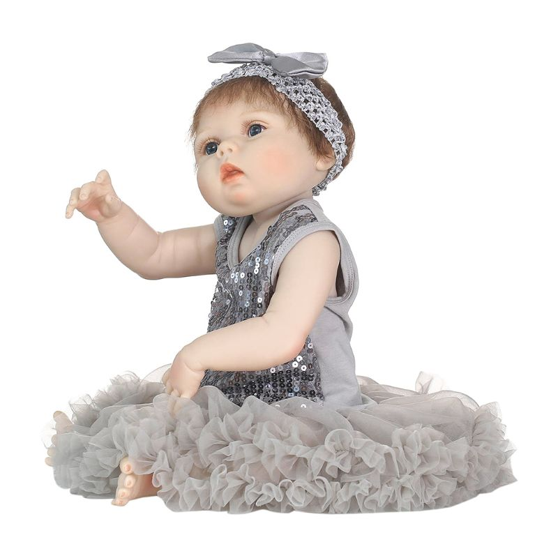 22in réaliste pleine Silicone poupée gris paillettes maille robe brun ours arc bandeau petite enfance enfants bébé jouets 95AE
