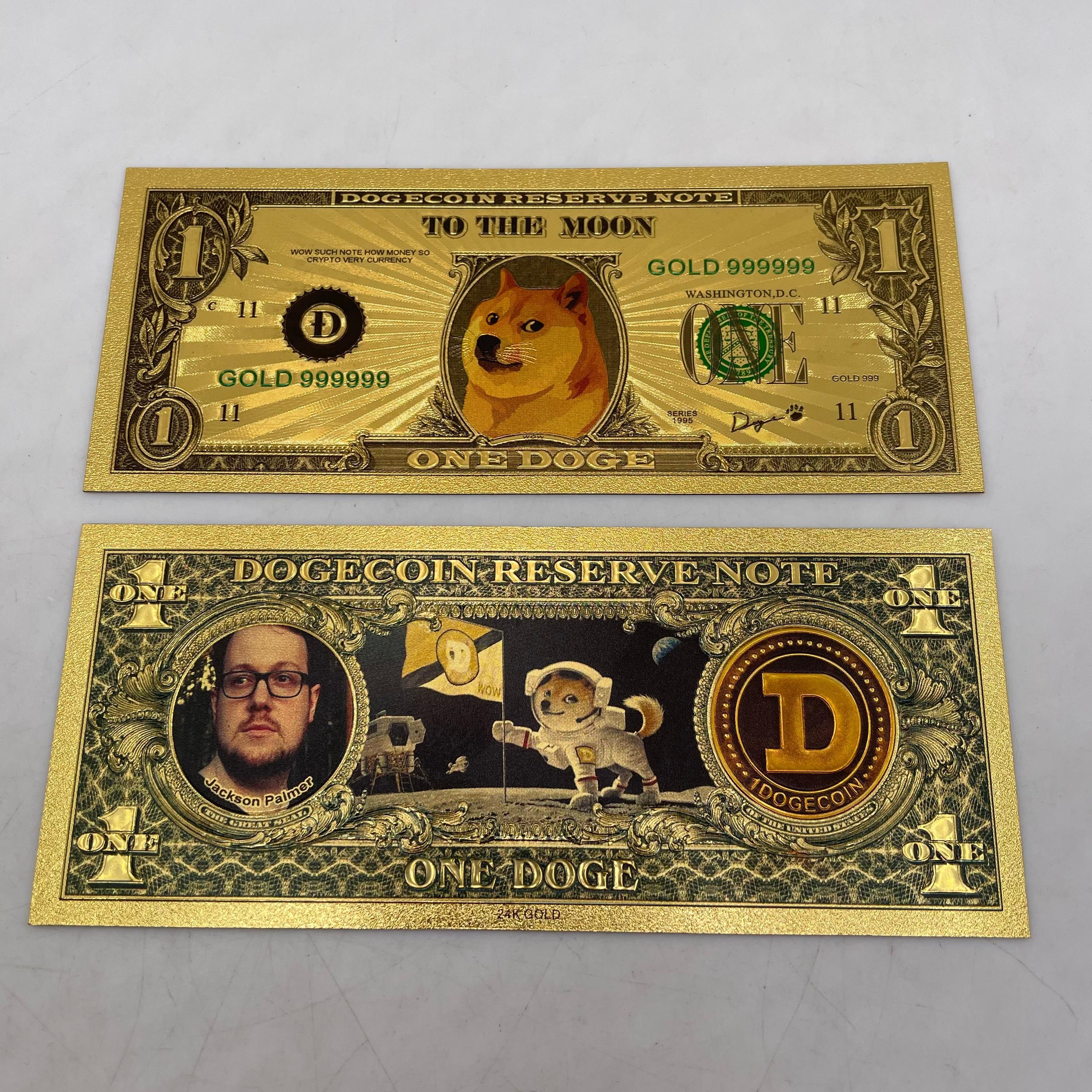 Красивые WOW позолоченные дожкойн золото банкнот милые Dogcoin узор сувенир в виде собаки коллекция подарков