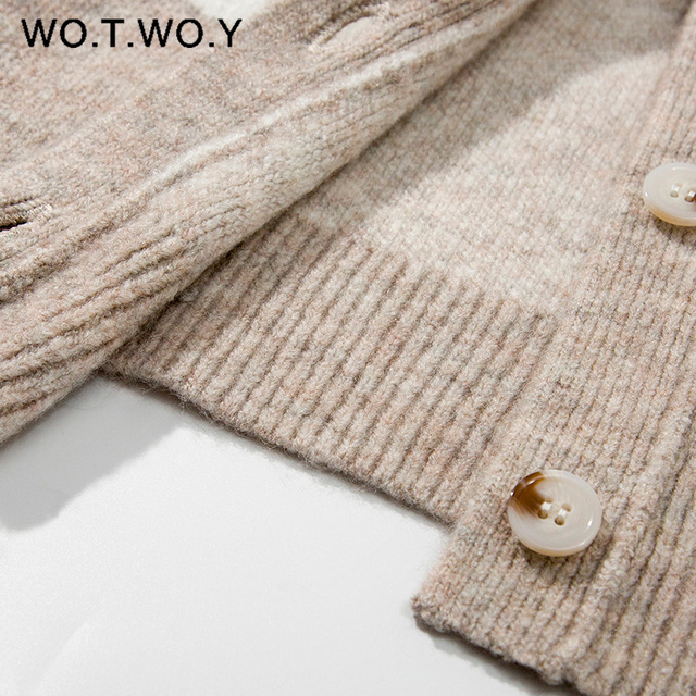 WOTWOY Autumn Winter V-Neck Knitted Cardigans Women Single Breasted Printed Loose Sweaters Female Casual Cardigans Soft Knitwear 6