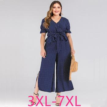 2020 summer plus size jumpsuit for women large short sleeve loose casual dot V neck long jumpsuits belt blue 3XL 4XL 5XL 6XL 7XL