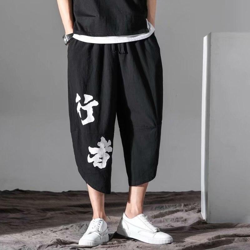 Summer Linen Shorts Men'S Wear Casual Loose-Fit Chinese-style Capri Pants 2019 Beach Shorts Large Size Fat Lantern Fashion