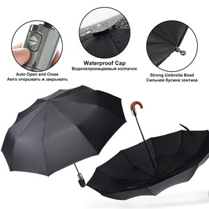 Image 5 - New British Leather Handle Umbrella Rain Women Business 3Folding Big Umbrella For Men Automatic Strong Windproof Men Umbrella