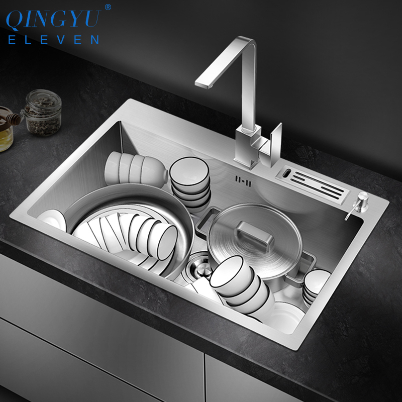 Large Size Kitchen Sink Lead-free Handmade Brushed 304 Stainless Steel 3mm Thickness Single Bowl Kitchen Sink With Knife Holder
