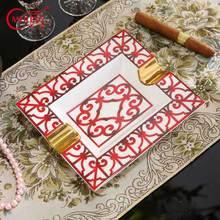 European Bone China Ashtray Rectangular Porcelain Cigar Ash Tray Smoking Accessories Luxury Orange Box Gifts For Boss Father Men