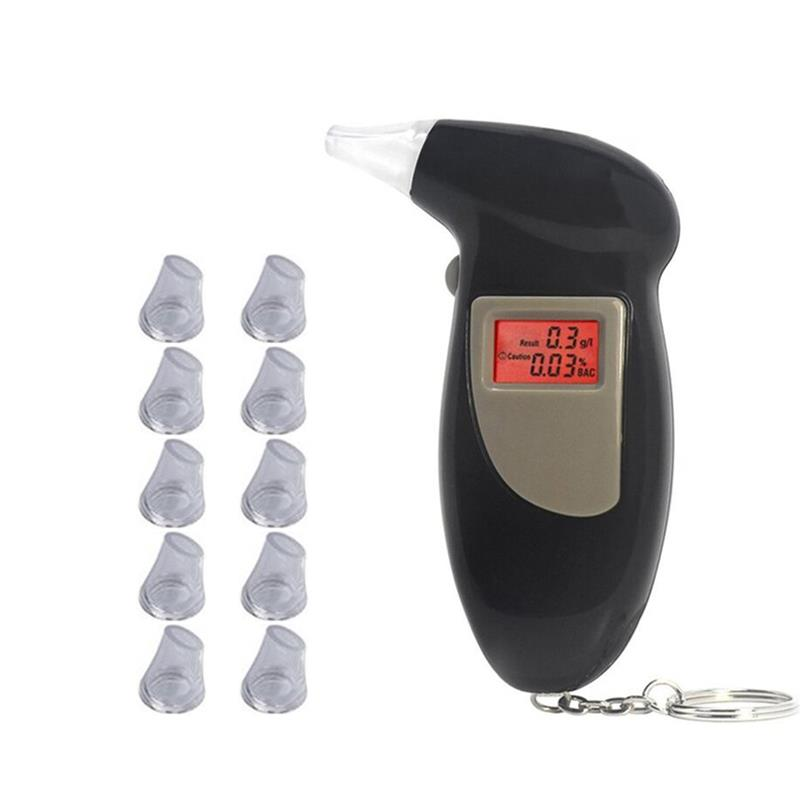 Alcohol Breath Tester Analyzer Detector LCD Screen With 11 Mouthpiece