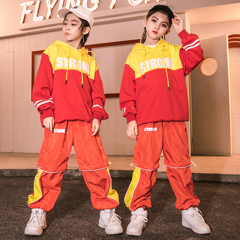 Hip Hop Dance Costume Kids Red Hooded Clothes Children'S Fashion Boys Girls Street Wear Ballroom Dress Performance Stage Outfits