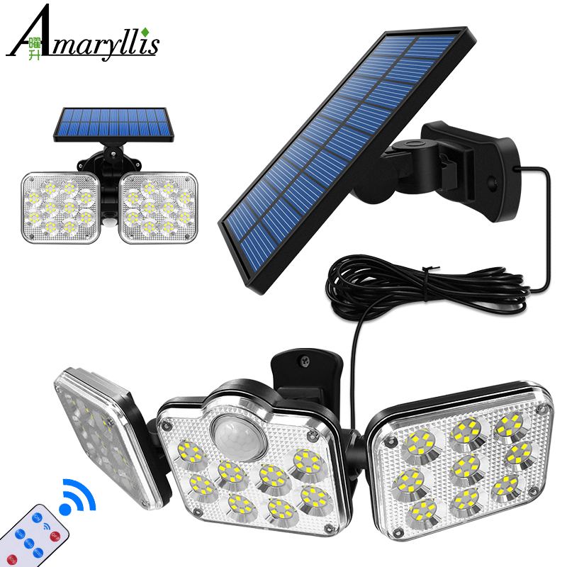Luzes solares cabeças ajustáveis lâmpada solar ip65 à prova dip65 água sensor de movimento solar luz grande ângulo iluminação para jardim garagem