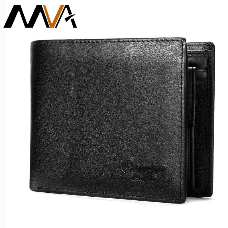 MVA Men's Genuine Leather Wallet Male Purse Bifold Mens Short Wallets With Coin Pockets Leather Purses For Men Engraving Wallets
