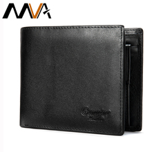 MVA Mens Genuine Leather Wallet Male Purse Bifold Mens Short Wallets With Coin Pockets Leather Purses For Men Engraving Wallets