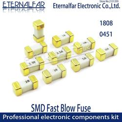 Gold 1808 125V 250V AC 0451 SMD Fast blow Fuse 0.5A 0.75A 1A 2A 3A 4A 5A 6.3A 8A 10A 12A 15A 500MA 750MA 2410 ultra-rapid fuses
