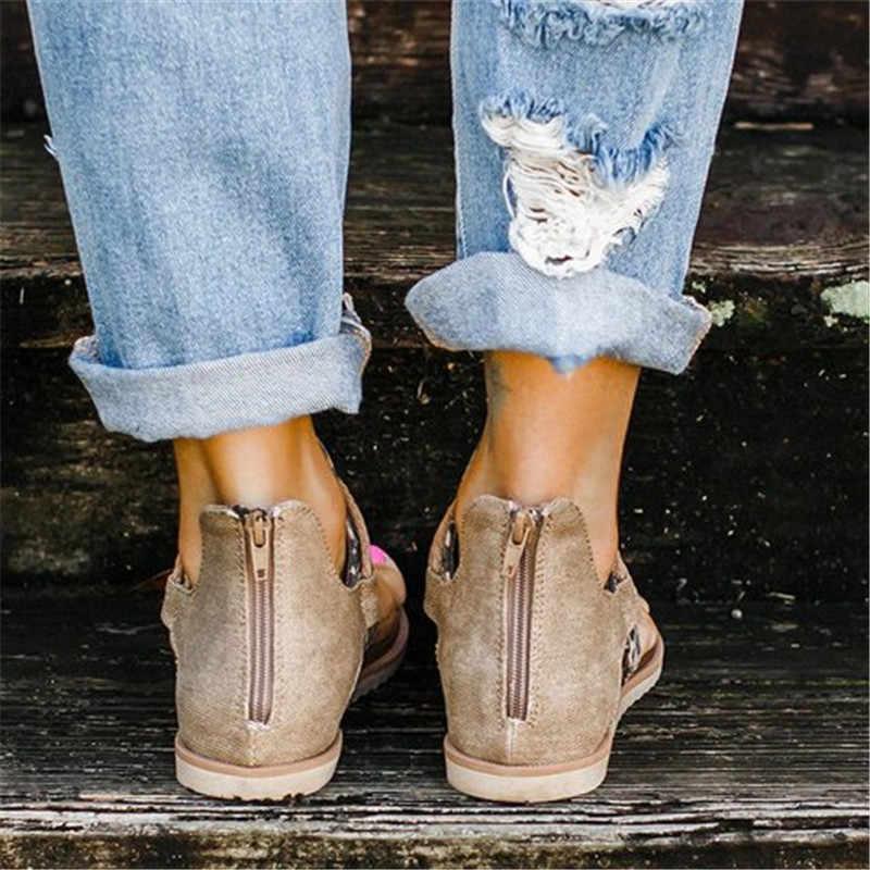 2020 ผู้หญิงรองเท้าแตะเสือดาวพิมพ์ฤดูร้อนรองเท้าผู้หญิงขนาดใหญ่ Andals แบนผู้หญิงรองเท้าแตะสตรีฤดูร้อนรองเท้ารองเท้าแตะ