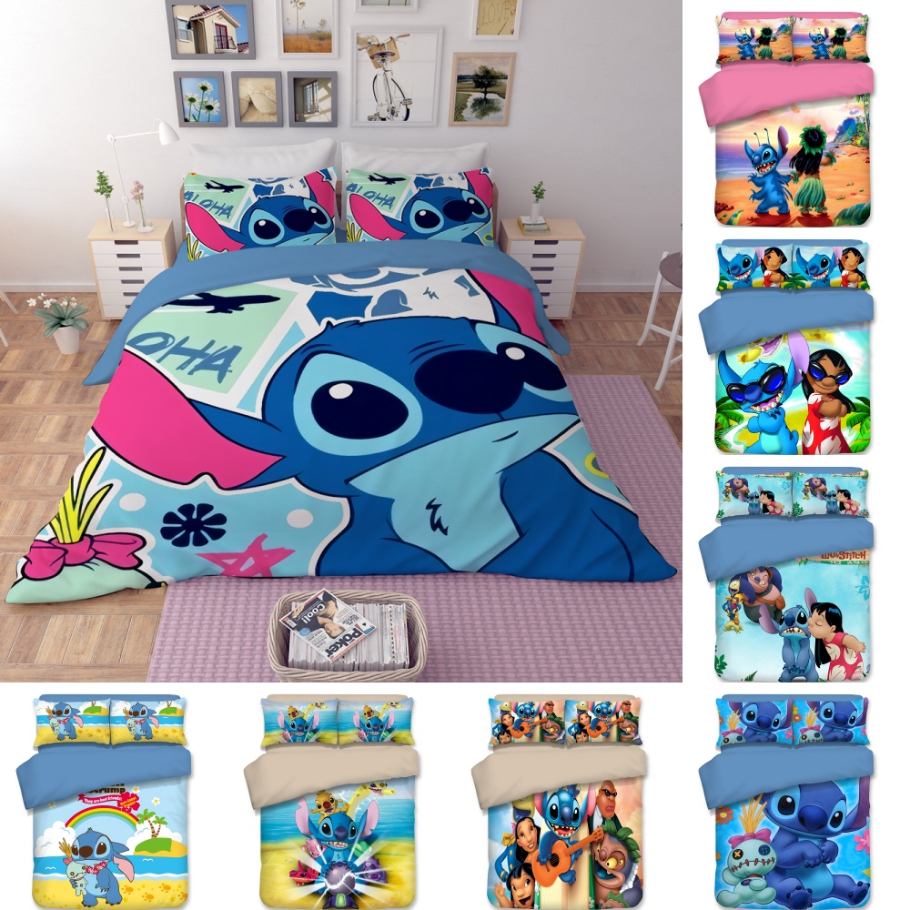 Disney Bedding Set Blue Lilo & Stitch Pattern Bedclothes Cartoon Baby Boys Girls Twin Full Queen King Duvet Cover Birthday Gift