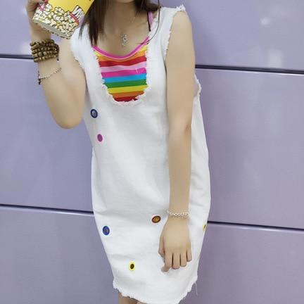 Photo Shoot New Style Loose Cowboy Suspender Strap Dress Women's Korean-style Vest Skirt Rainbow Camisole Two-Piece Set