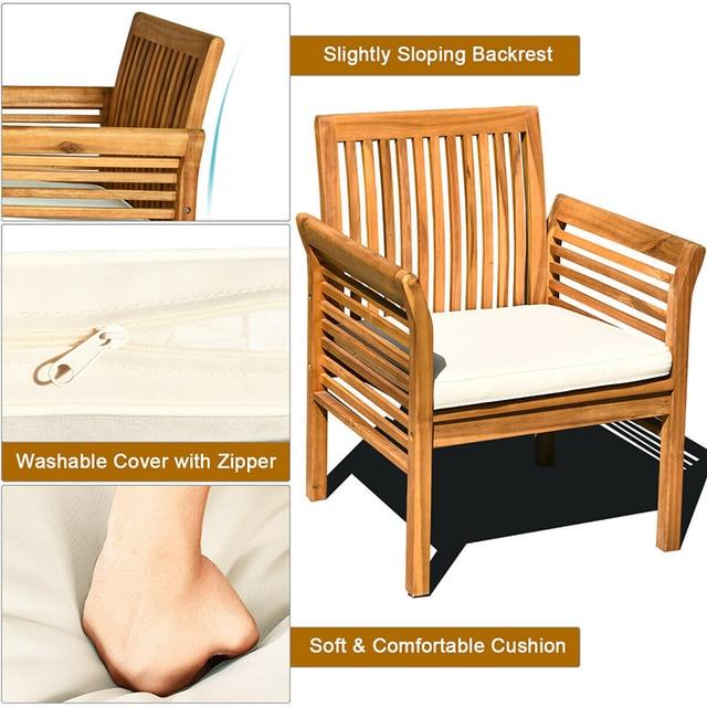 4 PCS Outdoor Wooden Furniture Set  4