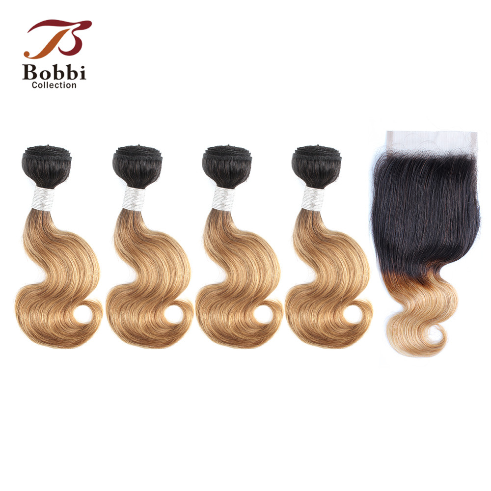 Bobbi Collection 50g/pc 4 <font><b>Bundles</b></font> <font><b>with</b></font> <font><b>Closure</b></font> Body Wave <font><b>1B</b></font> 27 Honey Blonde 613 Platinum Blonde Ombre Non-Remy Human Hair Weave image