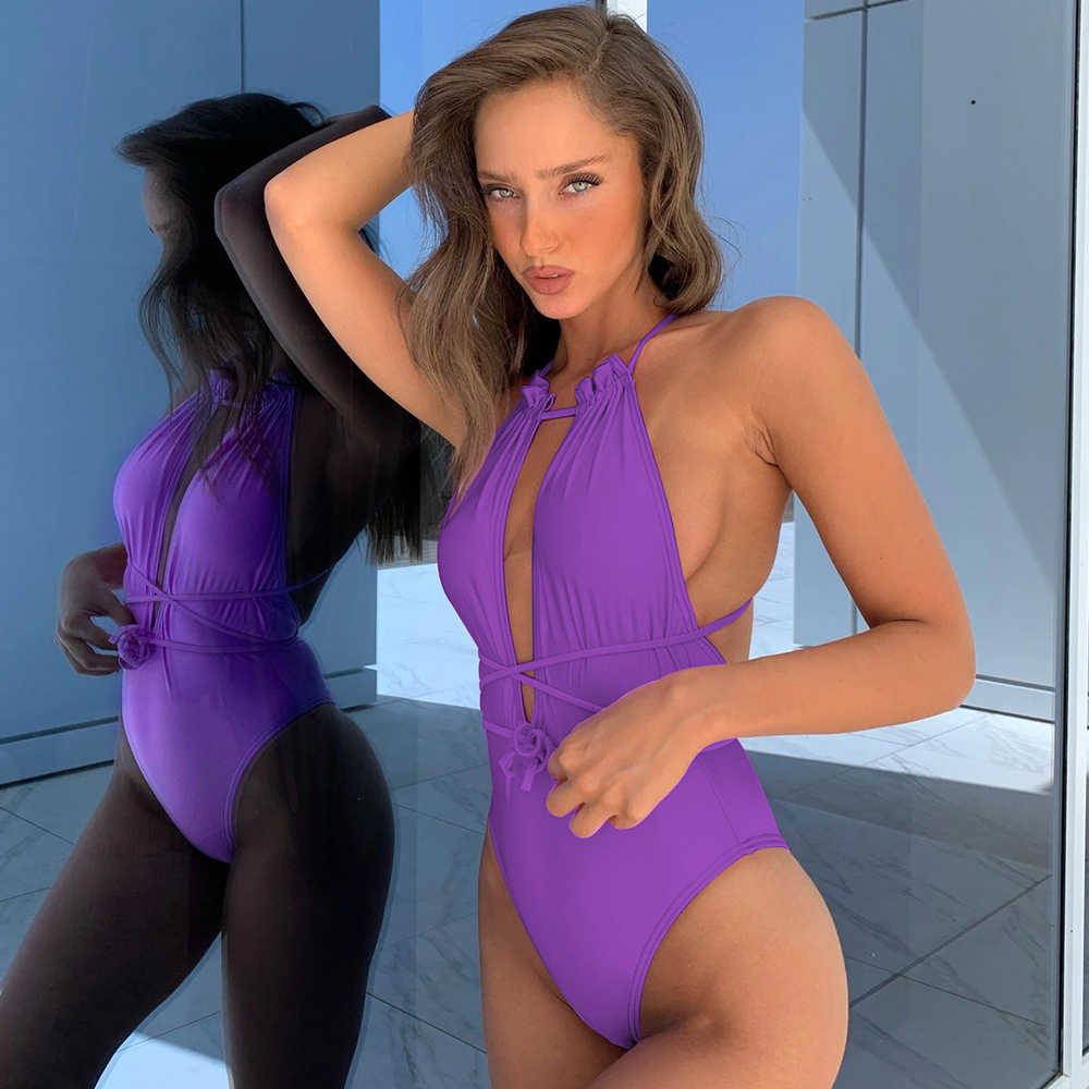 2020 Sexy di Un Pezzo del Costume Da Bagno Delle Donne Costumi Da Bagno Solido Della Tuta del Costume Da Bagno Femminile Costumi Da Bagno della Fasciatura Vestiti Della Spiaggia di Estate di Nuoto di Usura