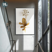 Golden plant leaves and flowers Wall art  canvas painting Wall Pictures for Living Room Nordic Decoration Pictures morden decor