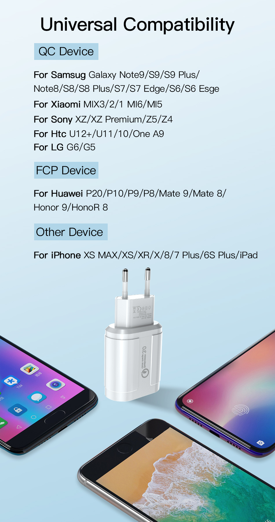!ACCEZZ QC3.0 USB Charger Quick Charge For iphone XS X Fast Charging For Samsung Huawei Xiaomi EU Plug Travel Wall Power Adapter (9)