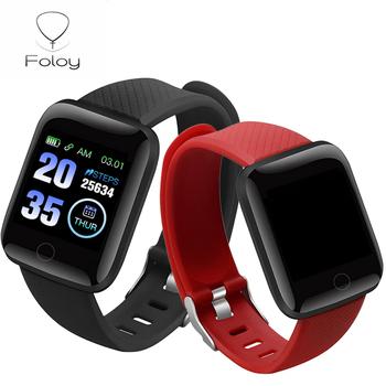 Foloy męski zegarek 116plus duży ekran ciśnienie krwi sen IP67 wodoodporny cyfrowy zegarek inteligentny zegarki damskie tanie i dobre opinie NONE RUBBER CN (pochodzenie) 10 3cm 3Bar SPORT Skórzany pasek Plac 18mm 11mm Szkło Odblaskowe Papier Cyfrowe zegarki na rękę