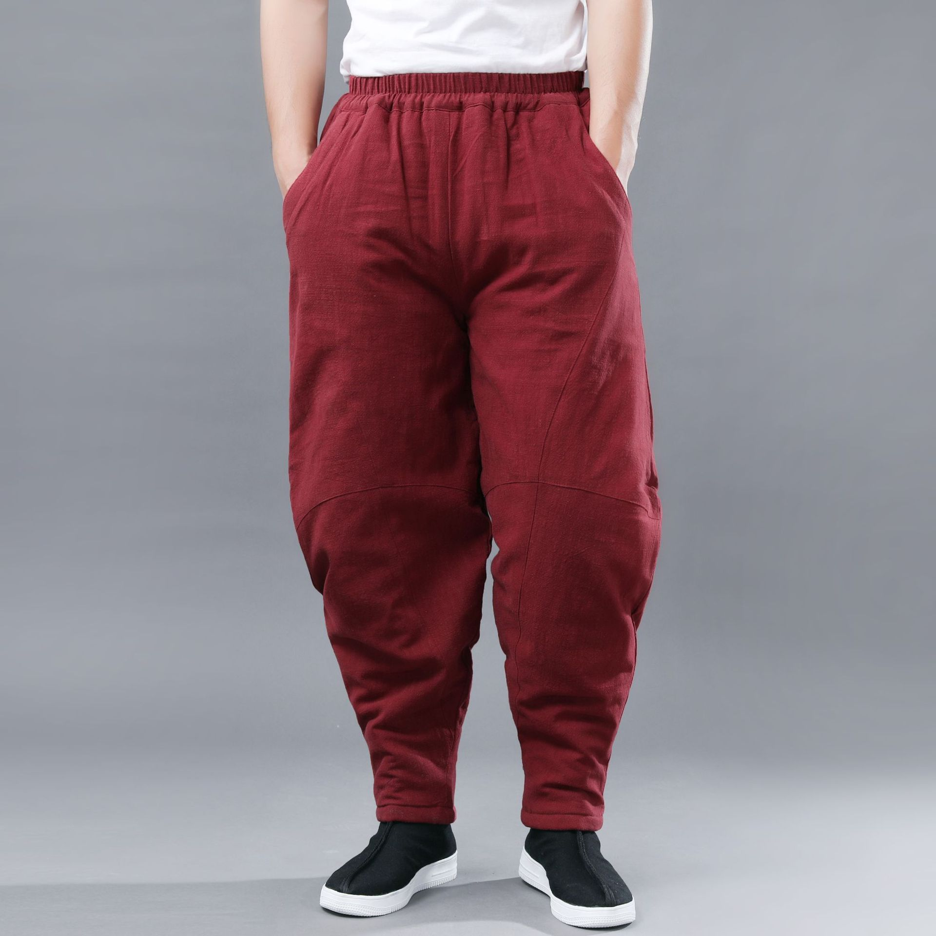 Winter New Style Double Cotton-padded Trousers Cotton Linen Thick Men's Warm Casual Pants Retro Literature And Art-Style Trouser