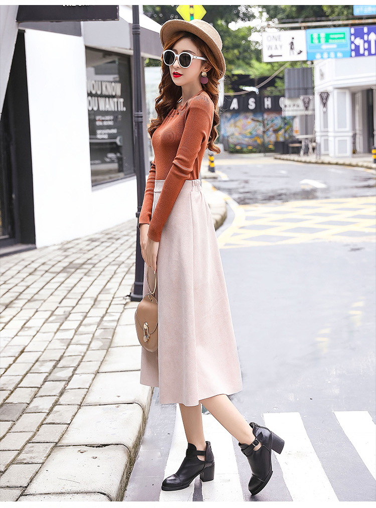 H5ffbe62d63394792a6e9a205c85700e46 - Neophil Women Suede High Waist Midi Skirt Summer Vintage Style Elastic Ladies A Line Black Green Flare Fashion Skirt  S29A4