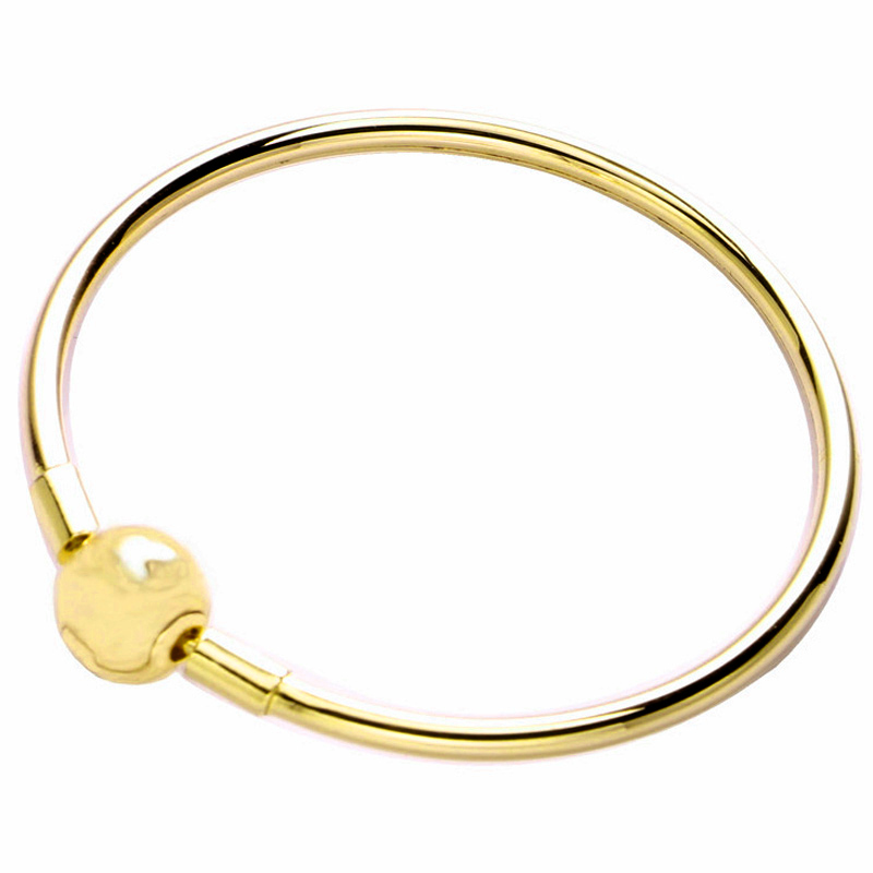 Original Gold Color Ball Clasp Clip Suitable Smooth Bracelet Bangle Fit 925 Sterling Silver Bead Charm Diy Fine Jewelry
