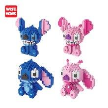 Wise Hawk bloques de construcción de Stitch para niños, Mini bloques de construcción de dibujos animados Kawaii, Kit de modelos DIY, juguetes educativos