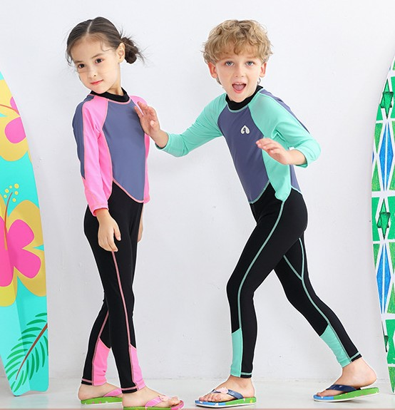2020 Children Sun-resistant Bathing Suit Long Sleeve Snorkeling Suit Girls BOY'S Siamese Swimsuit Big Boy Swimwear Diving Suit