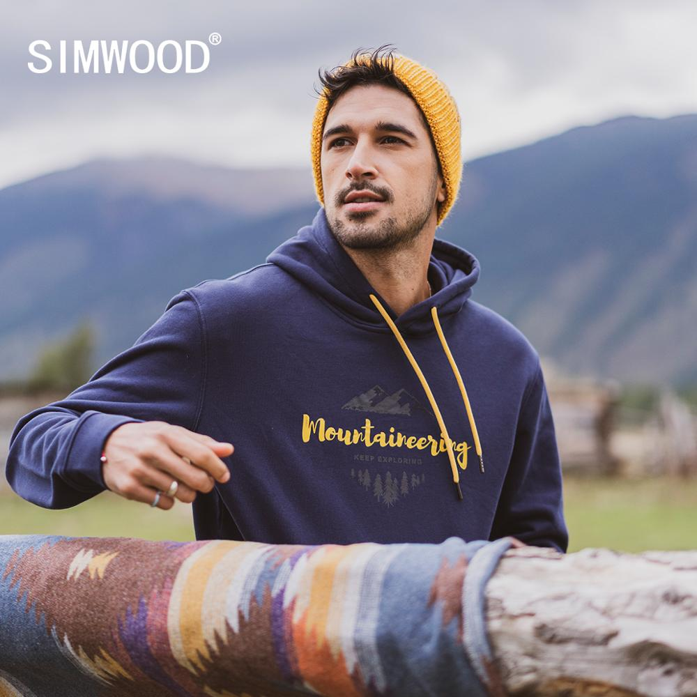 SIMWOOD 2019 Autumn Winter New Hooded Hoodies 100% Cotton Letter Mountain Print Contrast Color  Sweatshirts Plus Size SI980565