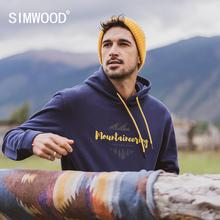 SIMWOOD 2020 Autumn winter new hooded hoodies 100% cotton letter Mountain print contrast color  sweatshirts plus size SI980565