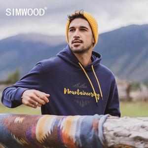 Image 1 - SIMWOOD 2020 Herbst winter neue mit kapuze hoodies 100% baumwolle brief Berg druck kontrast farbe sweatshirts plus größe SI980565