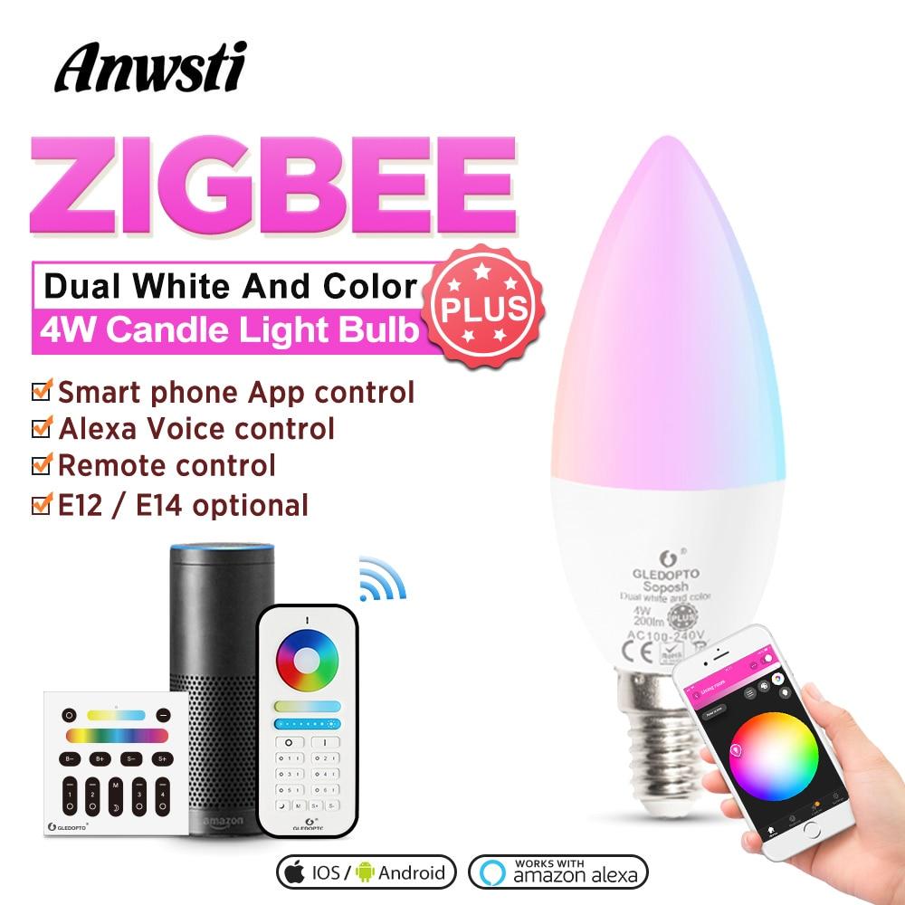 GLEDOPTO ZIGBEE RGBWW Smart Candle Bulb Plus E14 E12 4W Remote Control ZIGBEE RGBCCT LED 220V E14 Light Lamp Hub Alexa Echo Plus