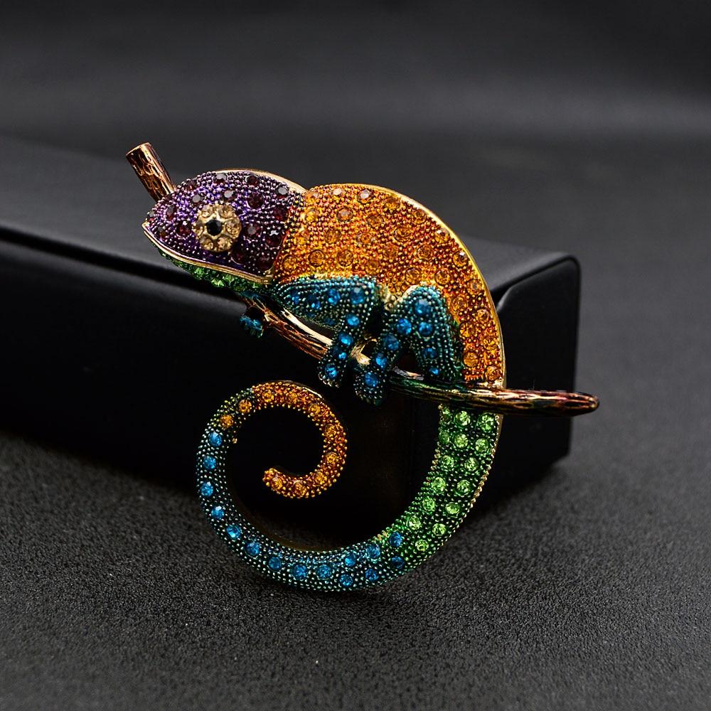 Large Lizard Chameleon Brooch Animal Coat Pin Rhinestone Fashion Jewelry Enamel Accessories Ornaments 3 Colors Pick CLOVER JEWELLERY