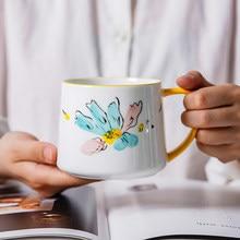Cute Hand-Painted Ceramic Breakfast Cup 320ml Cartoon Flowers Pattern Milk Oat Coffee Mug Underglaze Pottery Cups for Home Gift