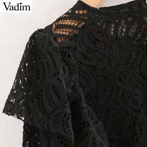 Image 4 - Vadim נשים בציר תחרה עיצוב חולצה ארוך שרוול ראפלס לראות דרך חולצה נקבה אופנתי חולצות blusas LB632