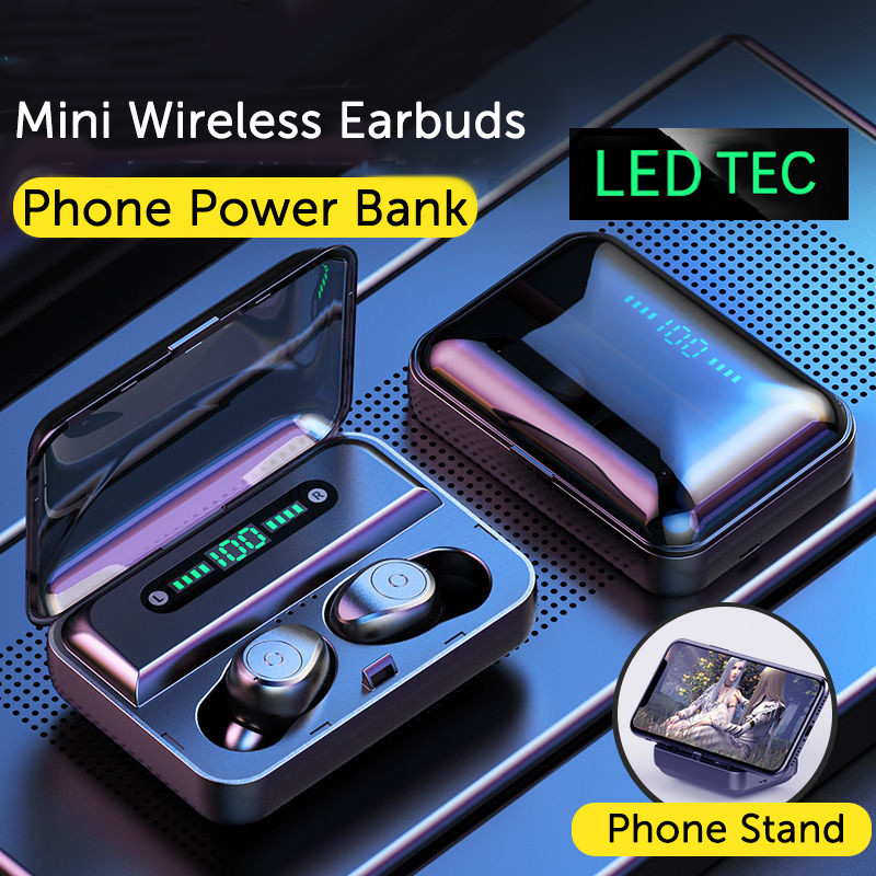 TWS Bluetooth наушники V5.0 стерео мини беспроводные наушники светодиодный дисплей Беспроводные наушники с двойным микрофоном держатель телефона для Xiaomi