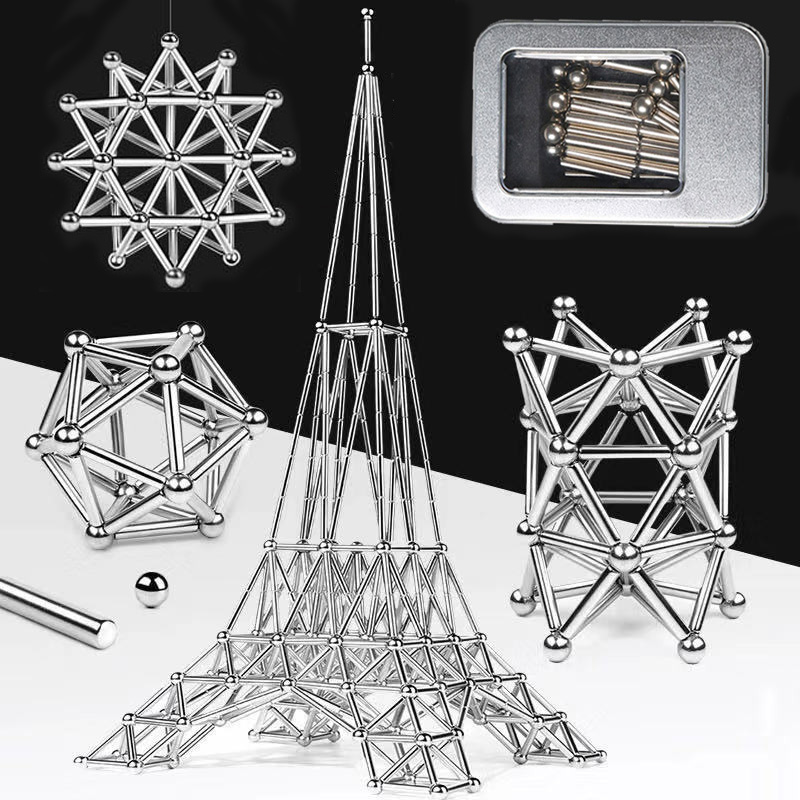 63-300PCS Magnet Bars Metal balls Magnetic Building Blocks Construction Toys Educational Toys for Children Gifts