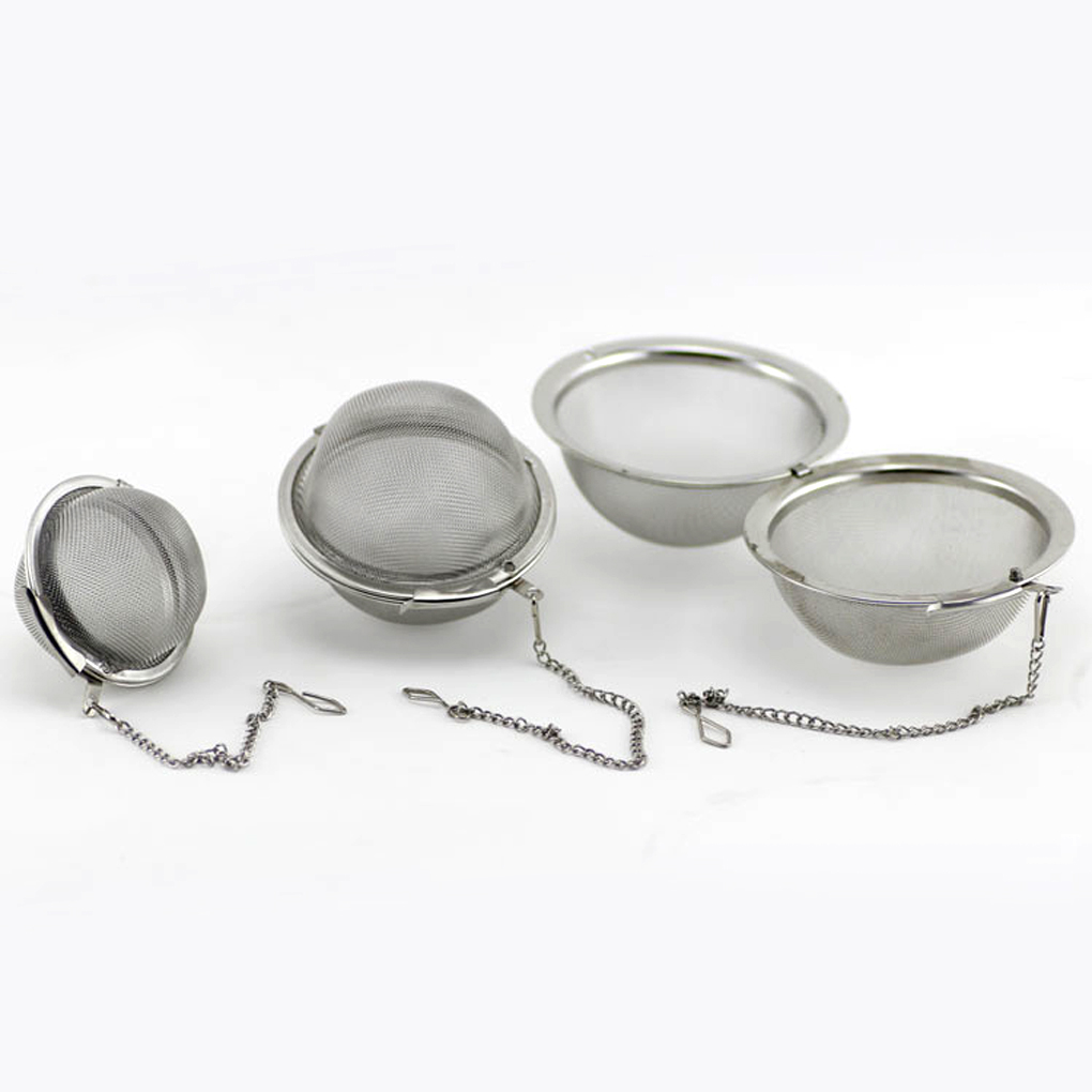 3 Sizes Stainless Steel Mesh Ball Tea Coffee Filter Mesh Infuser Chained Lid Ball Style Strainer Tool