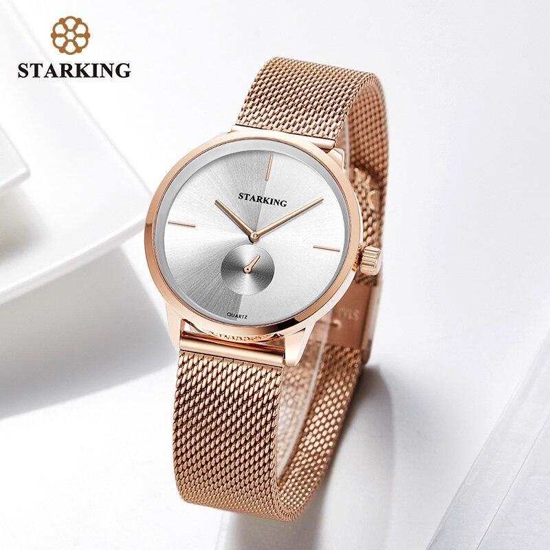 STARKING Rose Gold Steel Watches Women Top Brand Luxury Casual Clock Ladies Wrist Watch Lady Relogio Feminino Zegarek Damski in Women 39 s Watches from Watches