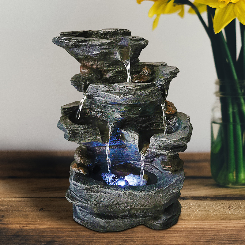 2020 New Resin Decorative Fountains Indoor Water Fountains Craft Desktop Home Decor Rockery Figurines FengShui Water Fountain
