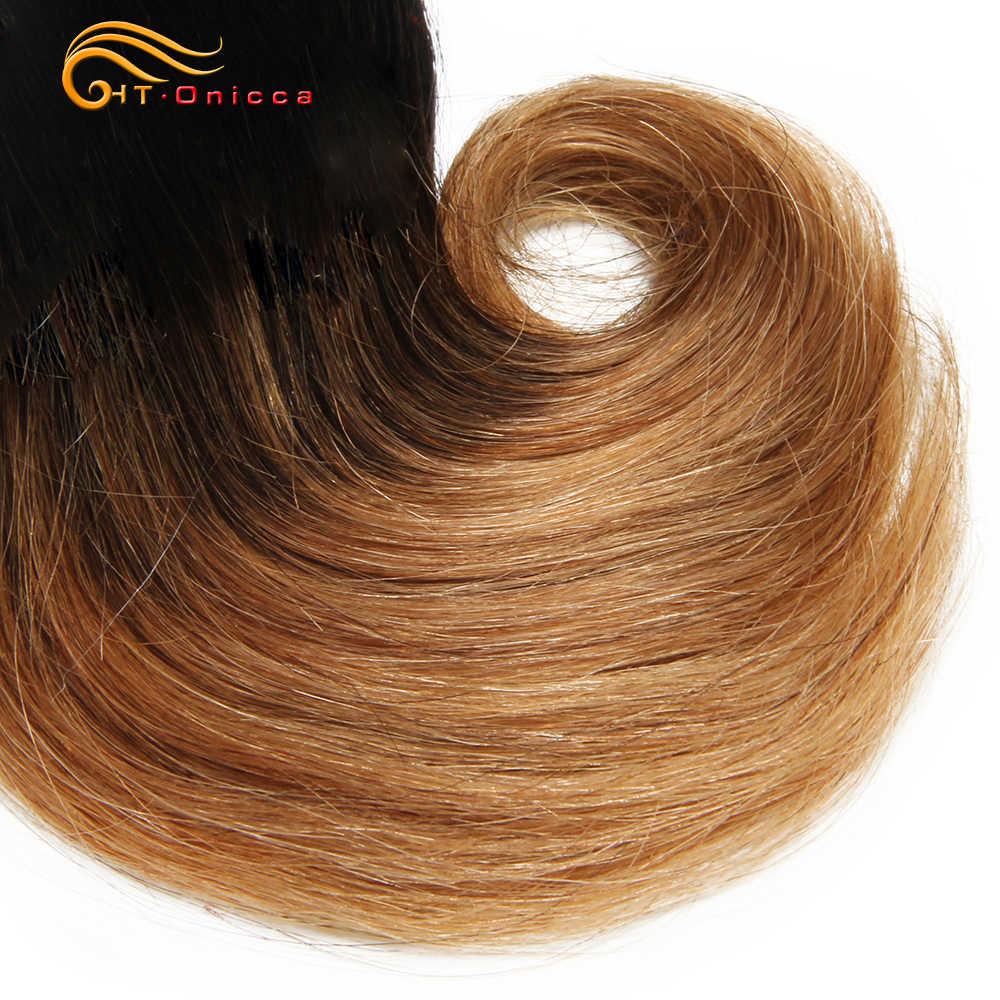 Doppel Gezogen Funmi Haar Bundles Mit Schließung Lockige 8 Zoll 100% Menschliches Haar weave Brasilianer Remy Haar Verlängerung 1B 27 30 burgund