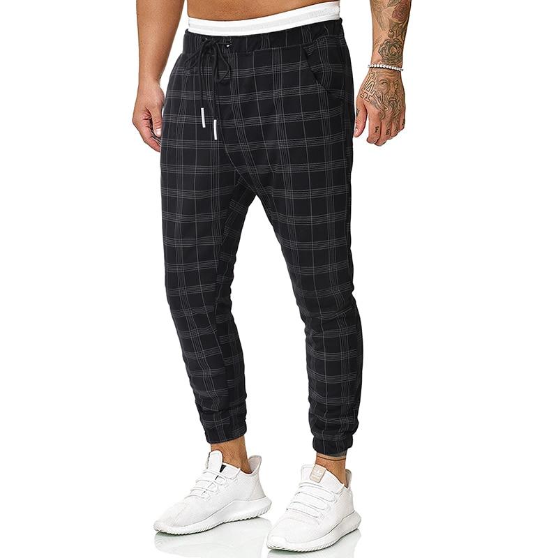 2020 New Casual Plaid Ankle-Length Pants Men Trousers Hip Hop Jogger Pants Men Sweatpants Japanese Streetwear Men Pants