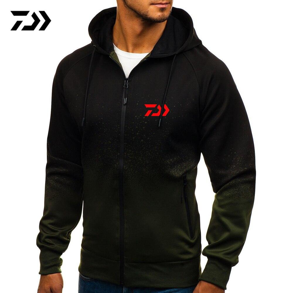 Daiwa Autumn And Winter Print Hooded Cardigan Sports Casual Gradient Design Shirt Men's Jacket Clothing