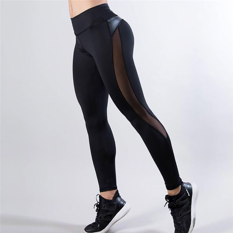 Women Ladies Black High Waisted Gym Joggers Sports Leggings Pants Black