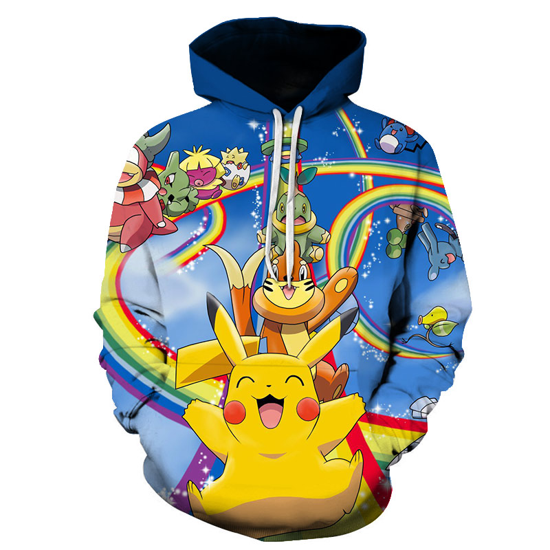 New hot anime Pokemon team role-playing hoodie 3D printing high quality hooded sweatshirt autumn and winter hooded 4