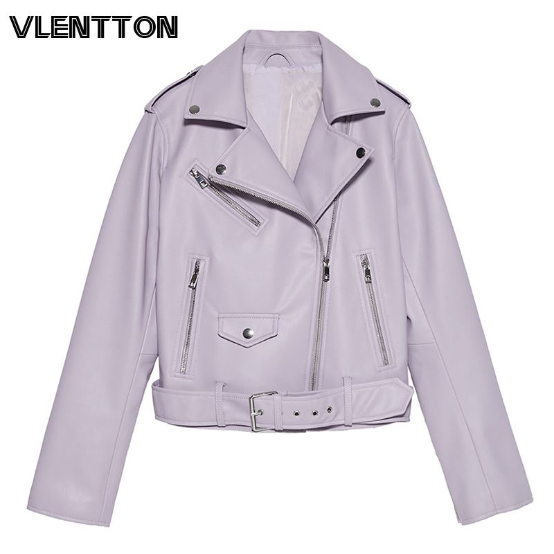 2020 Spring Autumn With Sashes Pu Faux Leather Jacket Women White Black Zipper Slim Short Biker Jackets Coat Female Outwear Tops