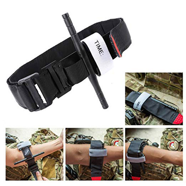 First Aid Quick Slow Release Buckle Medical Military Outdoor Portable  Emergency SOS EDC survival kit Tourniquet Strap One Hand 1