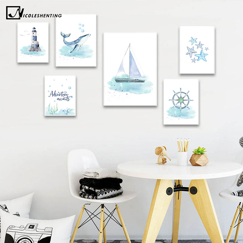 Nautical Sea Nursery Child Poster Whale Ship Canvas Wall Art Print Painting Nordic Kid Decoration Picture Baby Bedroom Decor