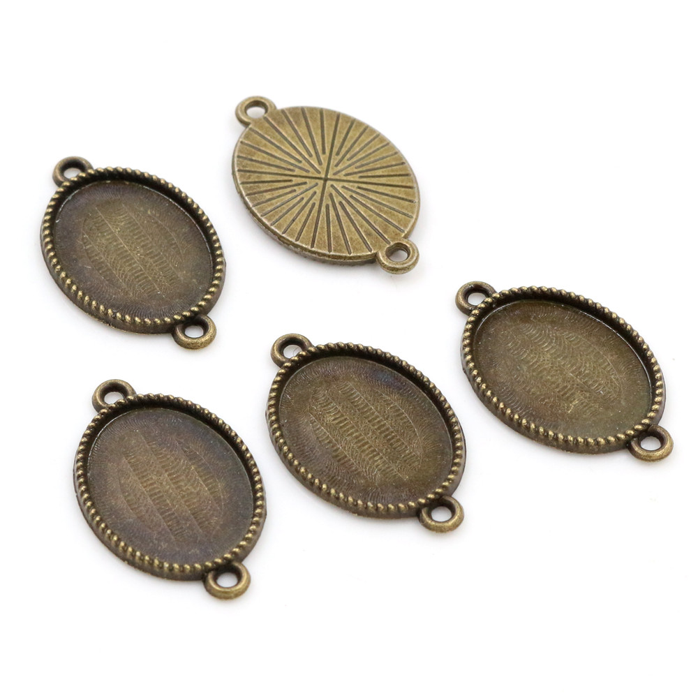 10pcs 13x18mm Inner Size Bronze Simple Style Cameo Cabochon Base Setting Charms Pendant Necklace Findings  (D4-04)